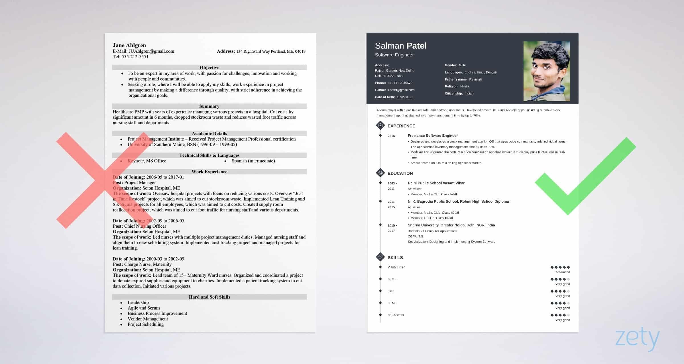 resume biodata samples