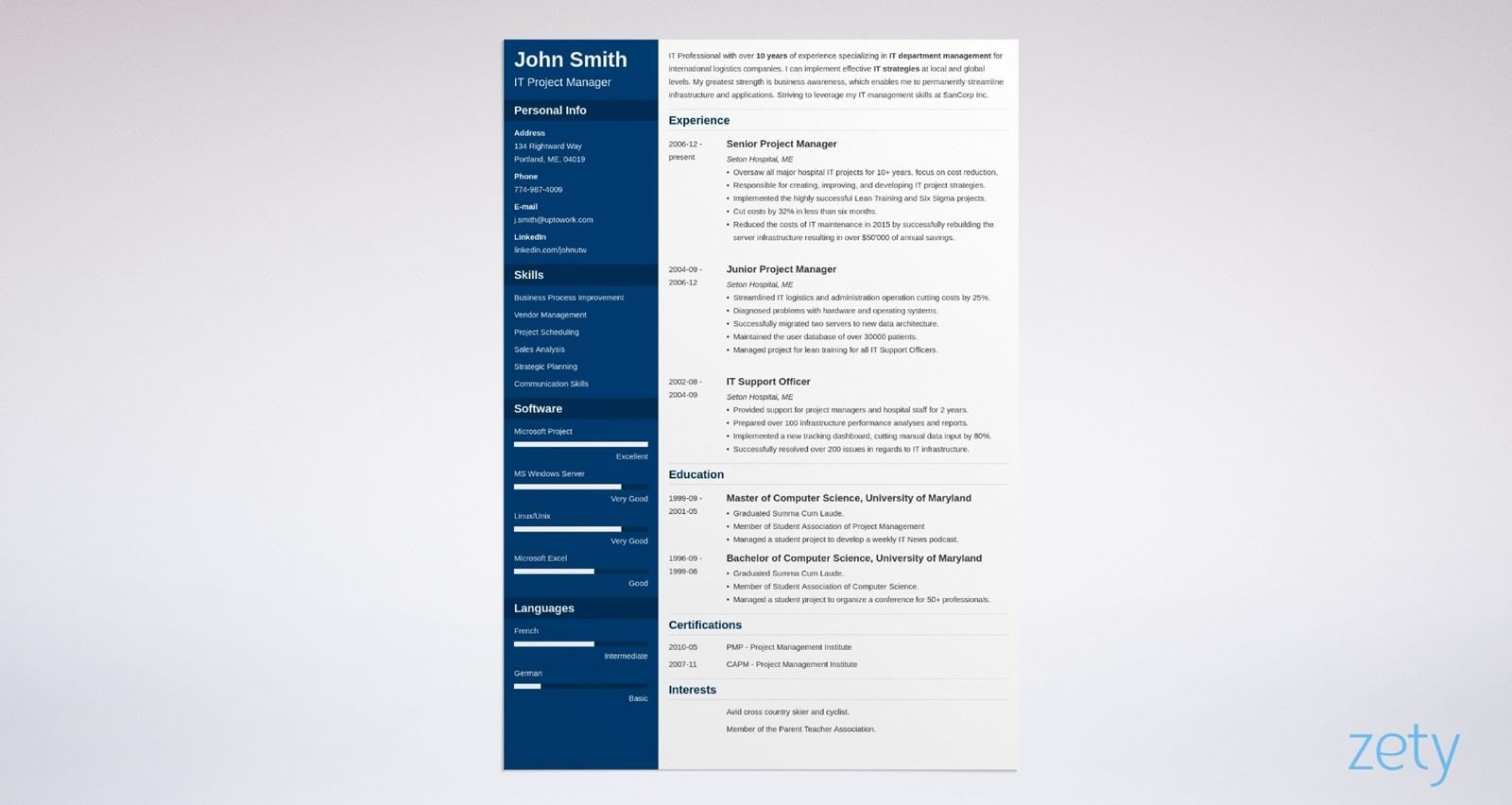 word resume template cascade