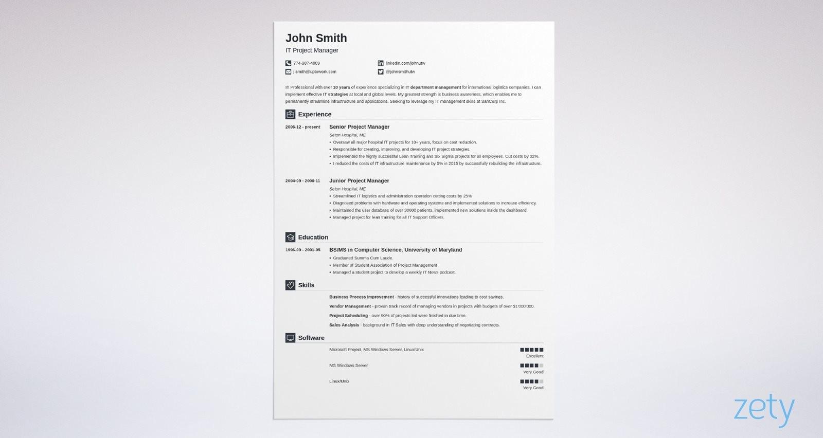 resume shortened name