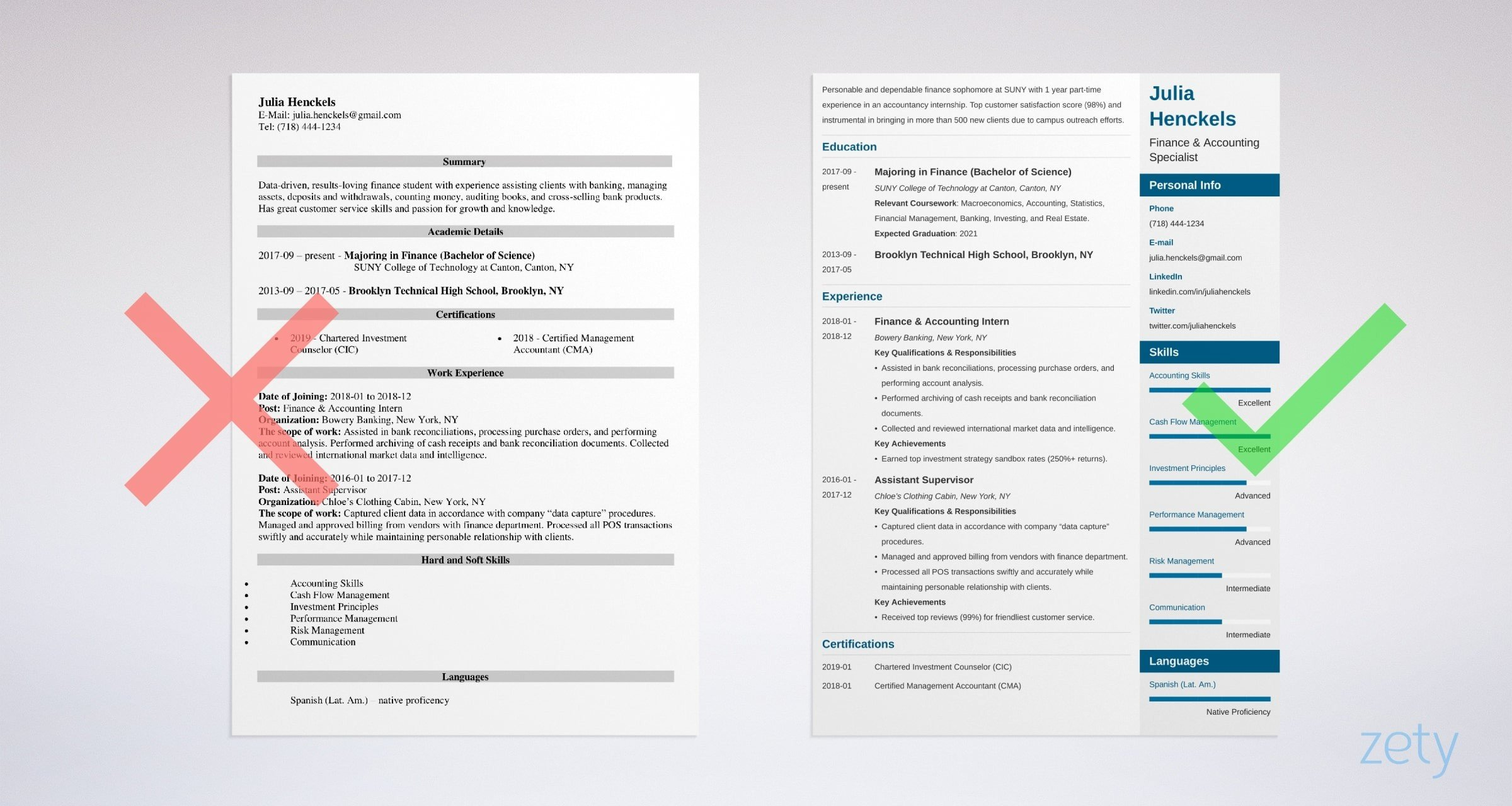 resume template examples for college students