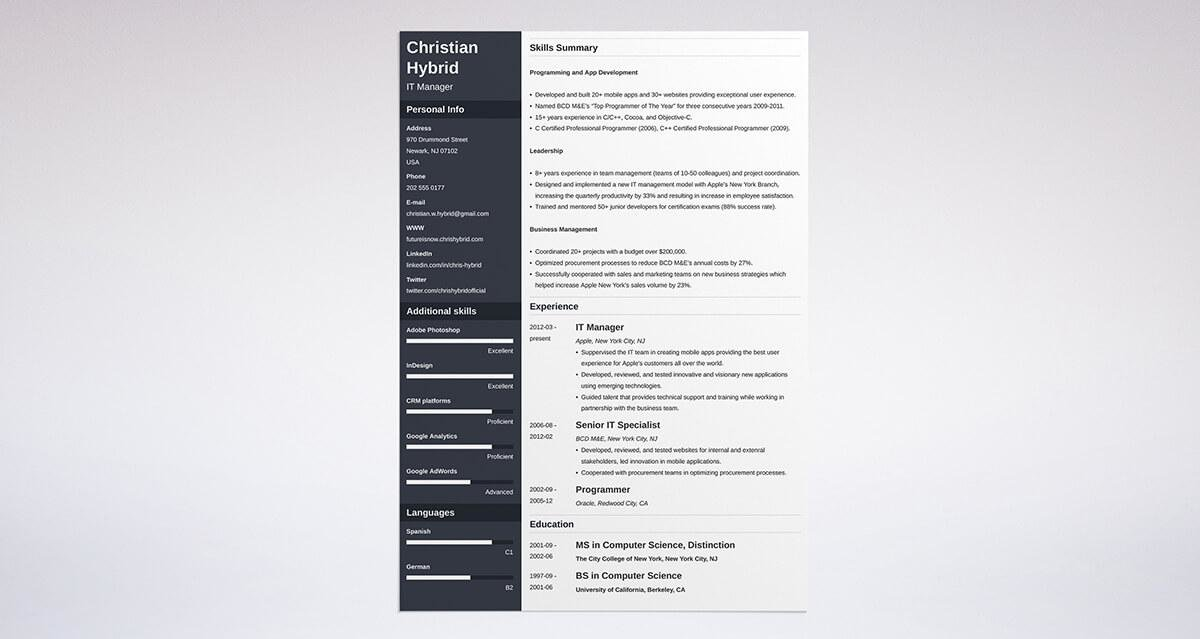 Combination Resume Template  5+ Examples Complete Guide