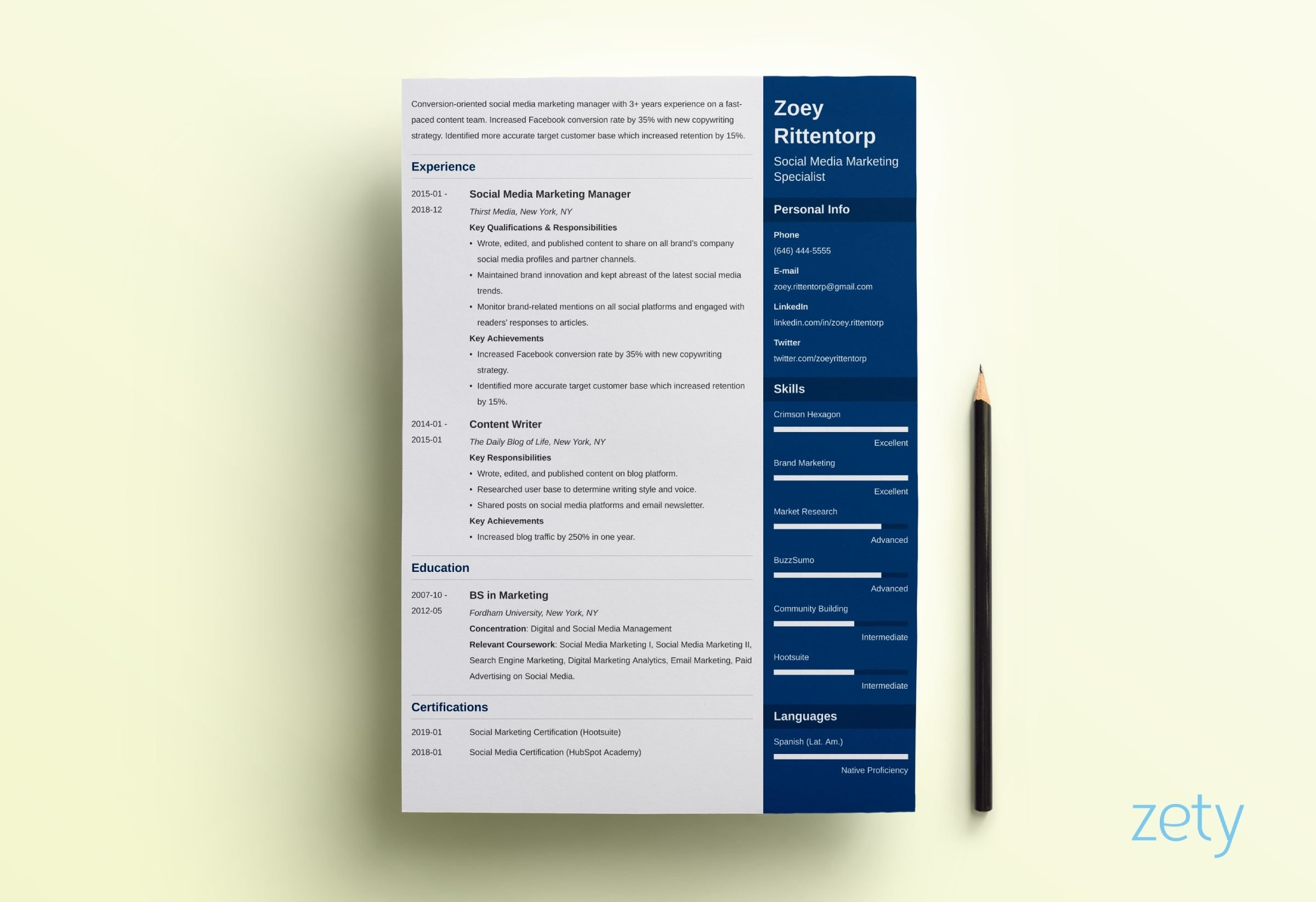 cascade style resume examples