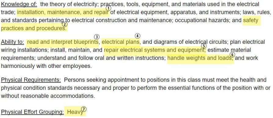 electrician job description