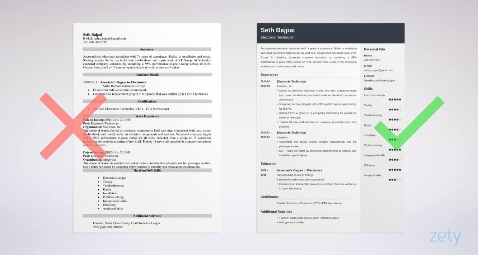 resume examples technician