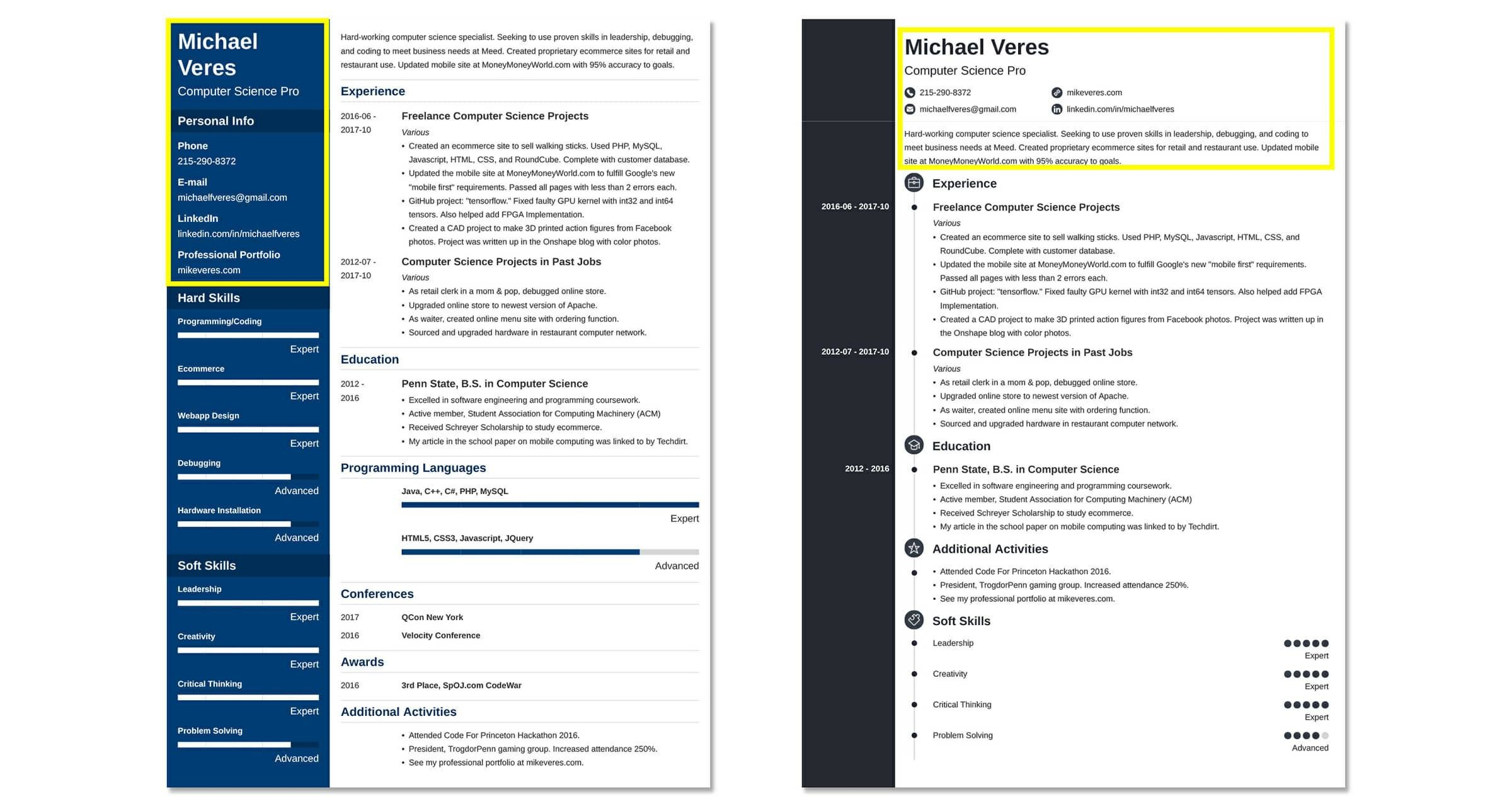 resume header footer examples