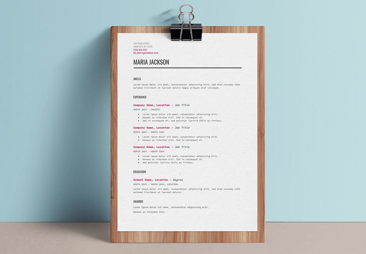 job resume template google docs