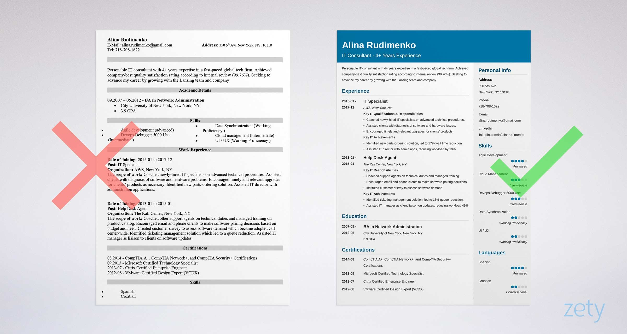 professional it resume template