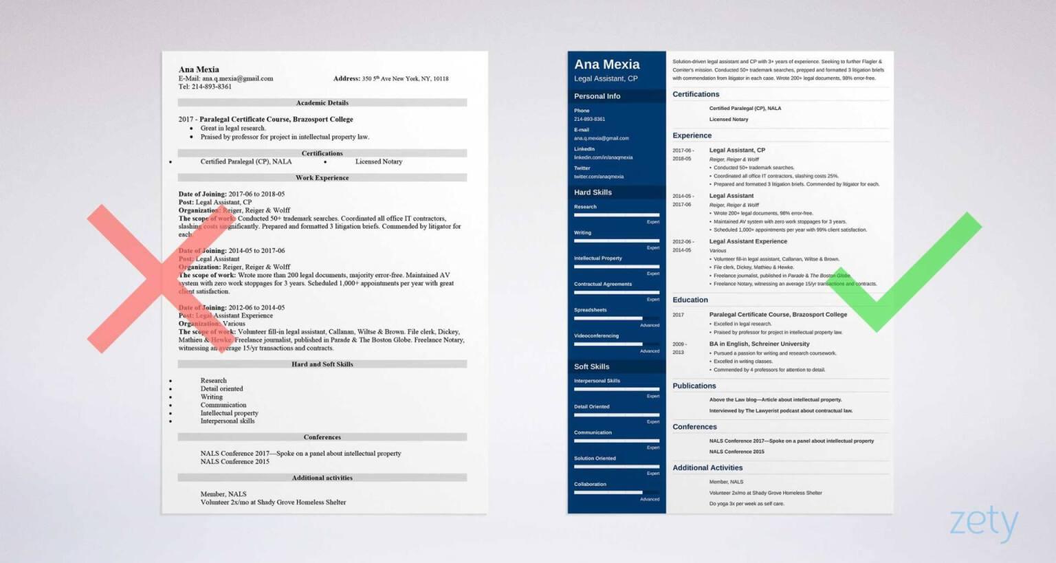 resume builder for legal assistant