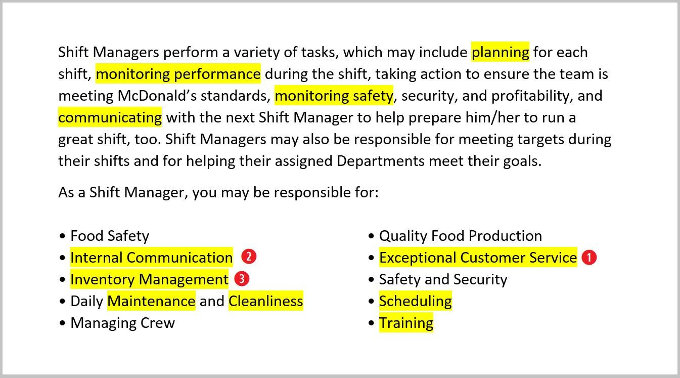 resume responsibilities for fast food