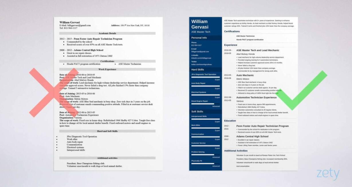sample resume car mechanic