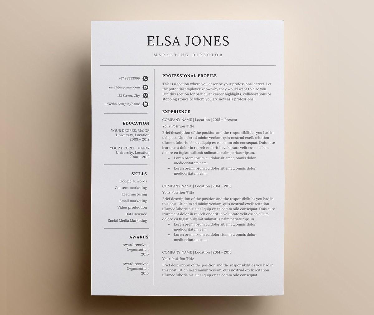 free illustrator minimalist resume template