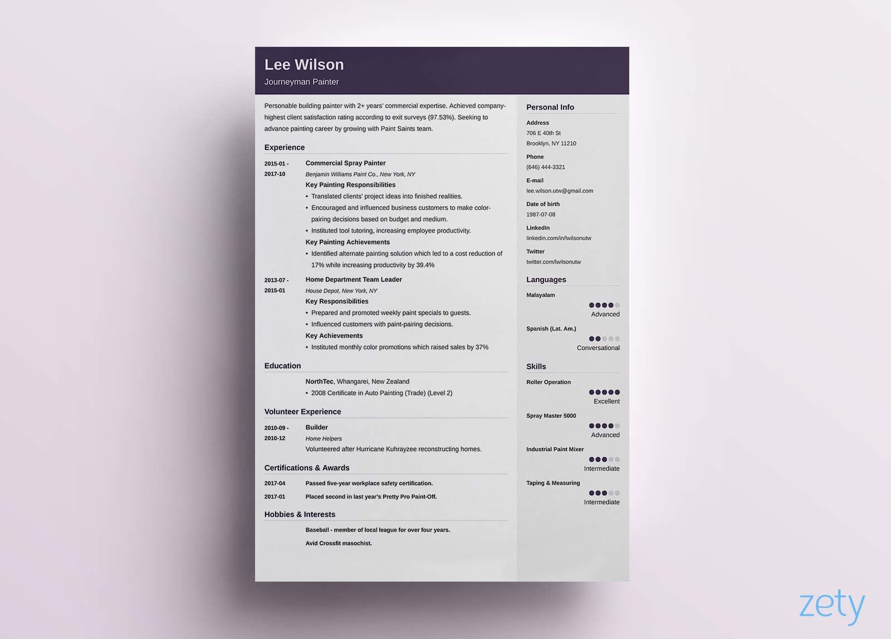 resume header examples modern