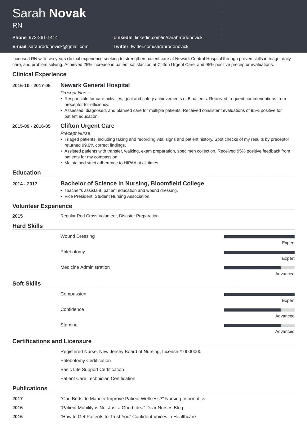 nursing student skills resume