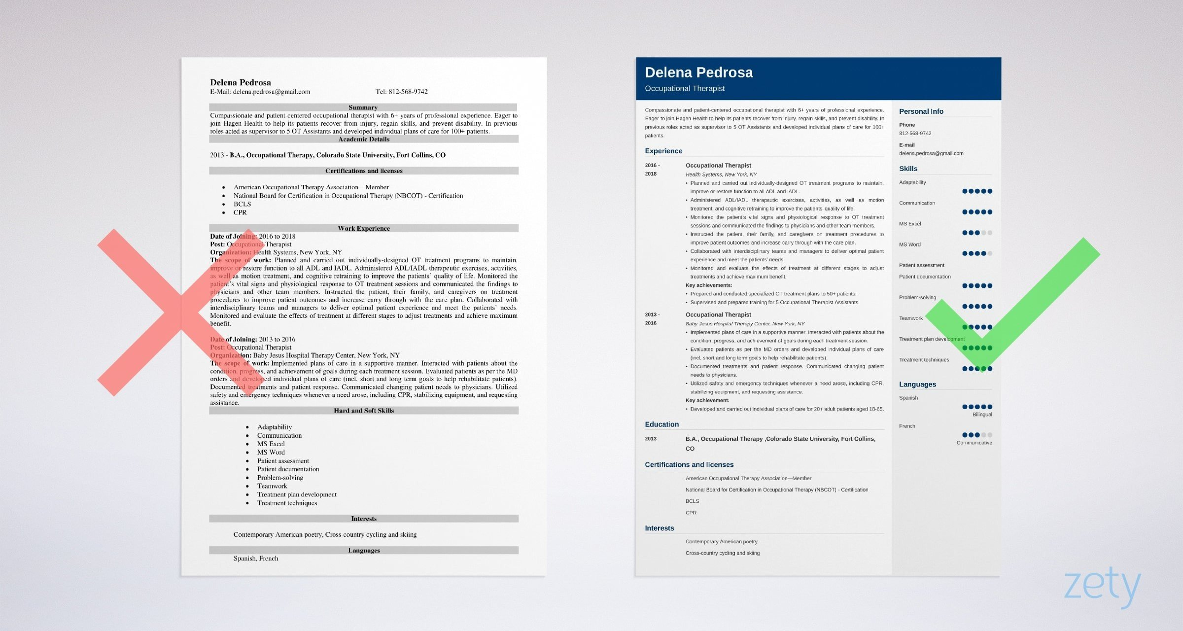 example of occupational therapy resume
