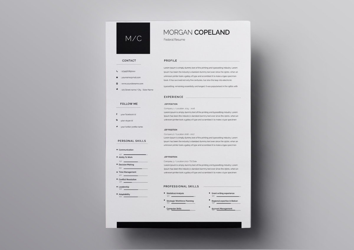 free templates resume pages
