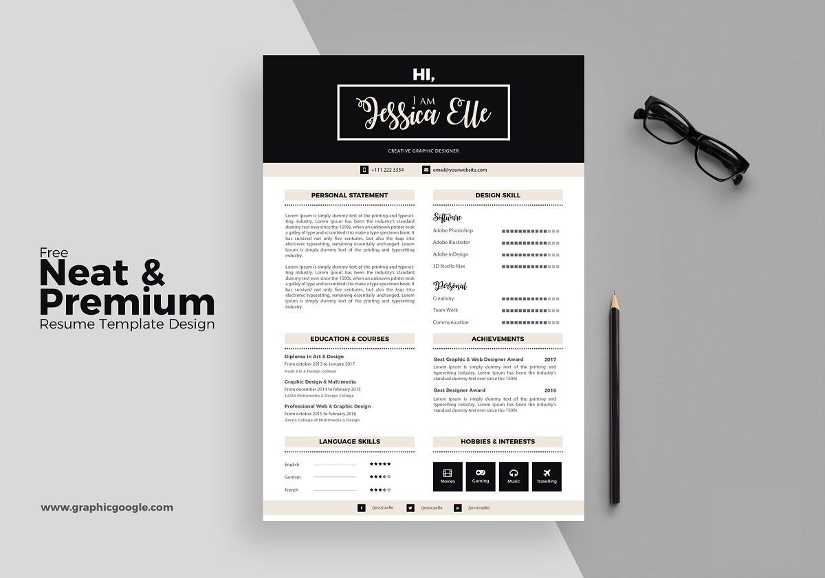 free template cv adobe illustrator