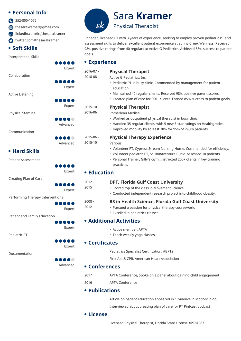 Physical Therapy Resume Sample and Writing Guide 20+ Examples