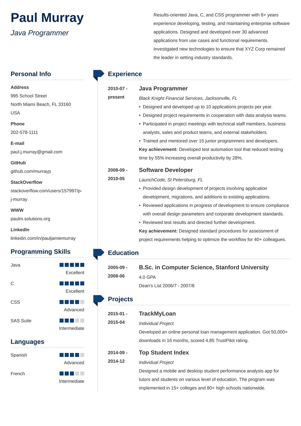 programmer resume latex