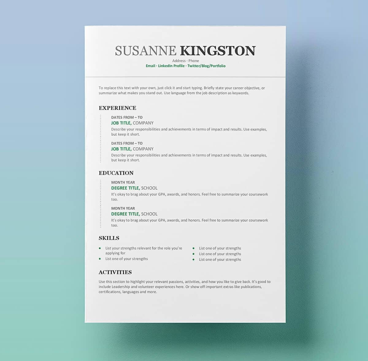 Resume Layout Word Resume Templates Word 15 Free Cv Resume Formats To Download