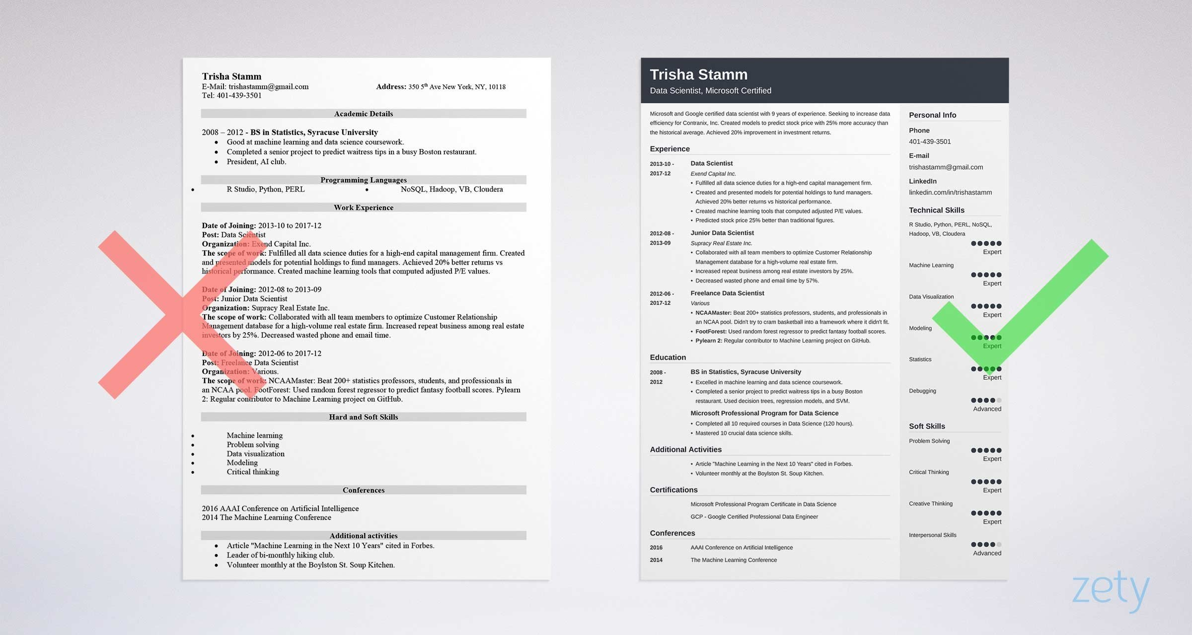 cv model scientist one page