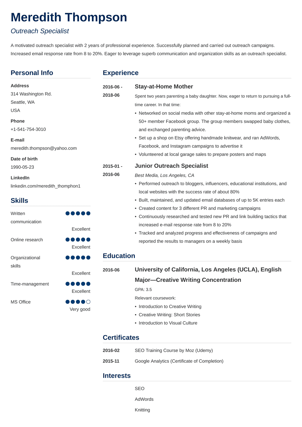 resumes profile examples for parents returning to work
