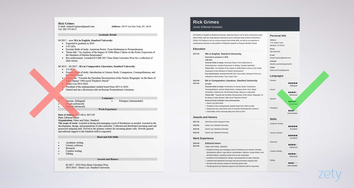 cv title examples internship