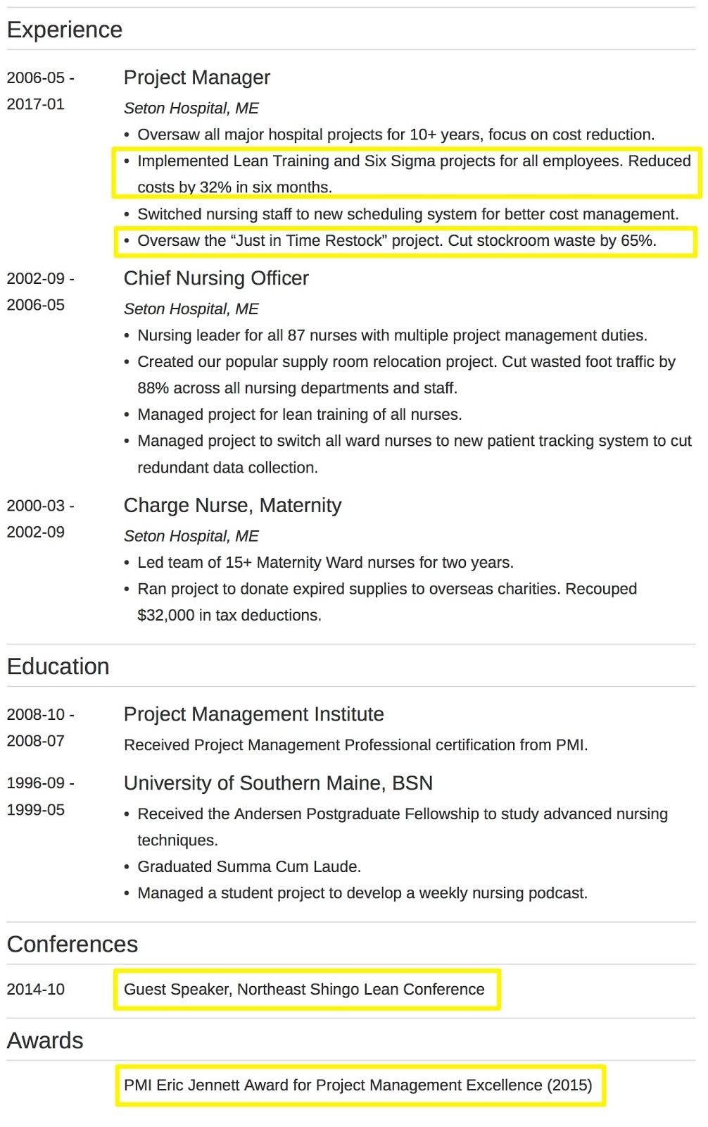resume qualification highlights examples