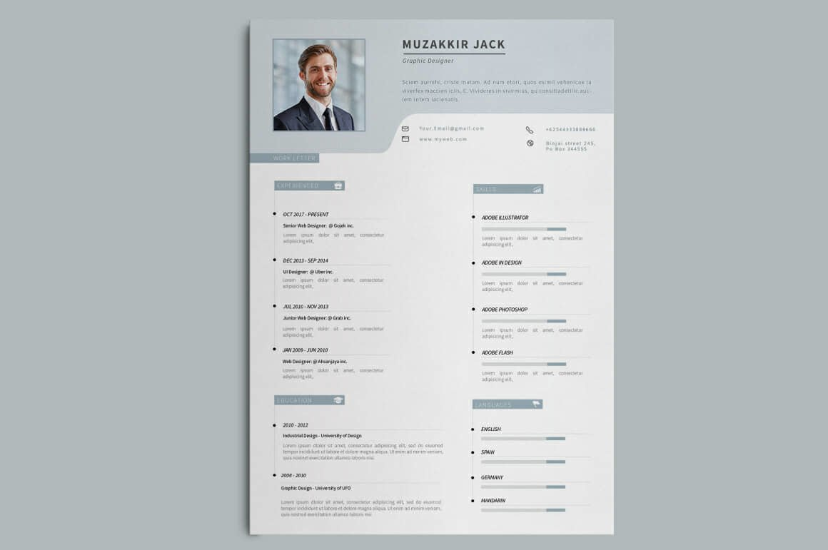 two column resume template pages