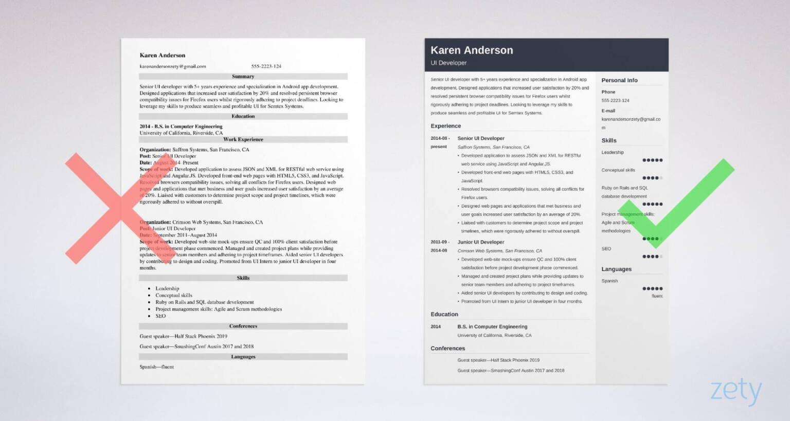 resume templates for ui developer