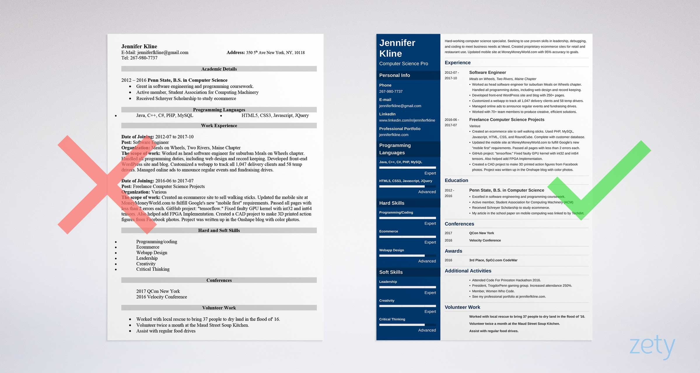 volunteer examples to put on resume