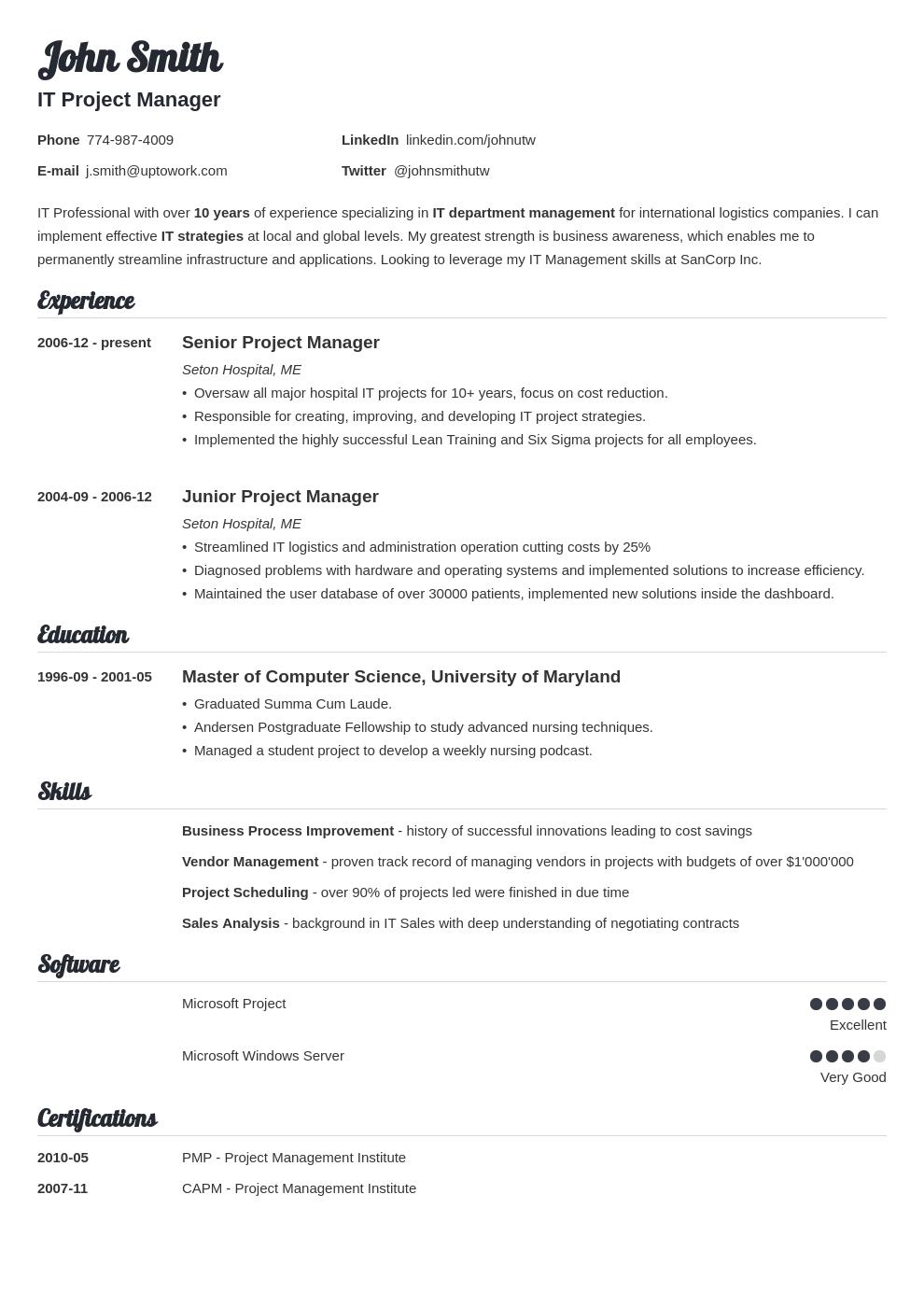 template resume espanol