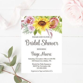 Sunflower Themed Bridal Shower Invitations - Flowers Healthy
