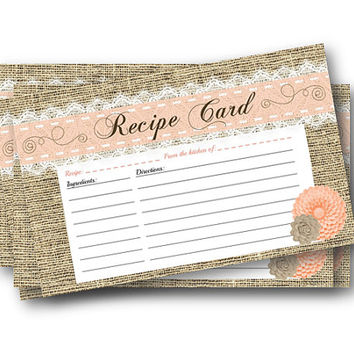 printable recipe card yellow shabby chic bridal shower instant