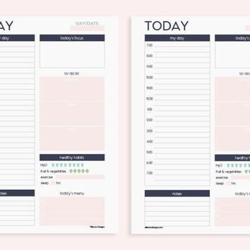 A5 Printable Insert Refill Daily Planner from EllemonDesigns on