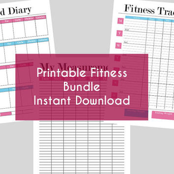 Printable Fitness Bundle - Food Diary, from CurvesLinesDesign on