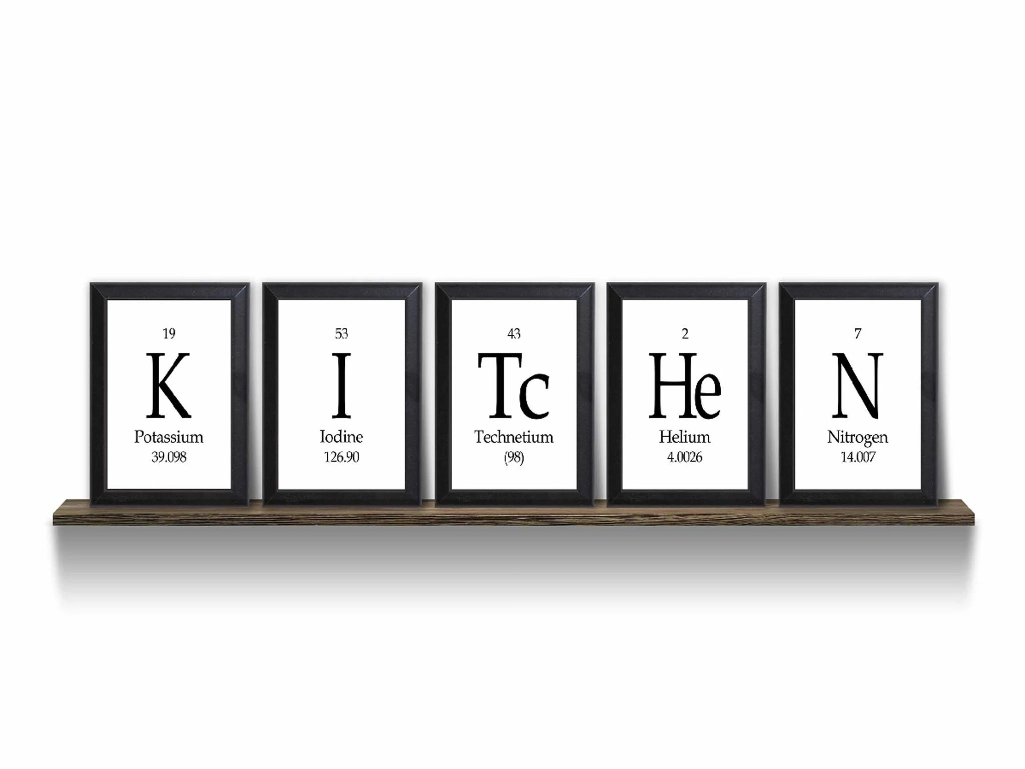 Geek Wall Art Kitchen Periodic Table Framed 5 Piece From Neurons Not
