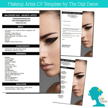 CV Template Package Makeup Artist from digidame on Etsy
