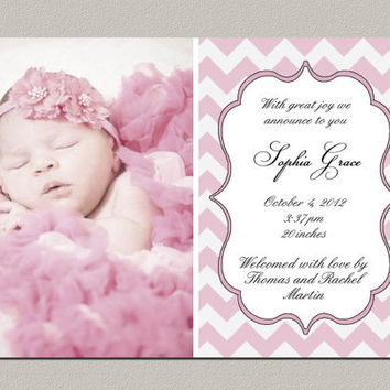 Best Baby Girl Announcement Cards Products on Wanelo - Baby Girl Birth Announcements