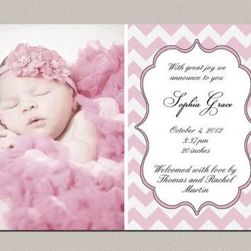 Best Baby Girl Announcement Cards Products on Wanelo - Birth Of Baby Girl