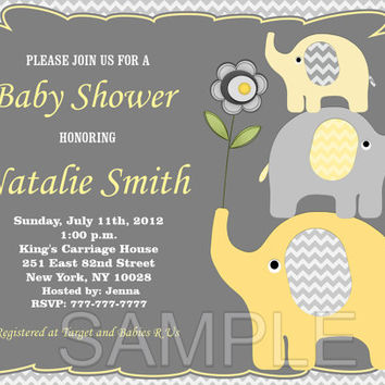 Elephant Baby Shower Invitation Baby Shower invitations Printable Baby  Shower Invite -FREE Thank You Card - editable pdf Download (03)