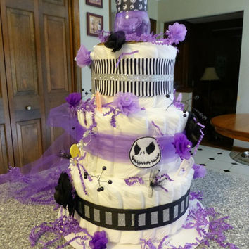 Best Unique Baby Shower Diaper Cakes Products on Wanelo - nightmare before christmas baby shower decorations