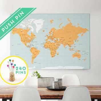Large World Map CANVAS Choose Color - from Macanaz Shop Large