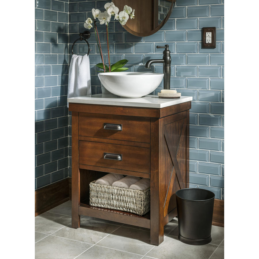 Badezimmer Country Style Shop Style Selections Cromlee Bark Vessel Single Sink Poplar Bathroom Vanity With Engineered Stone Top Faucet Included Common 24 In X 19 In