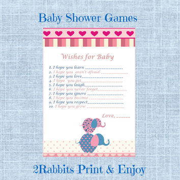 Pink Elephant Themed Girl Baby Shower - from 2RabbitsPrintEnjoy