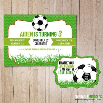 Printable soccer birthday invitation  from MyPrintableMiracl