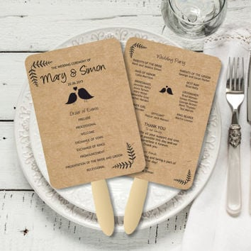 EDITABLE Wedding Fan Program, Rustic from BSNPartyArt on Etsy