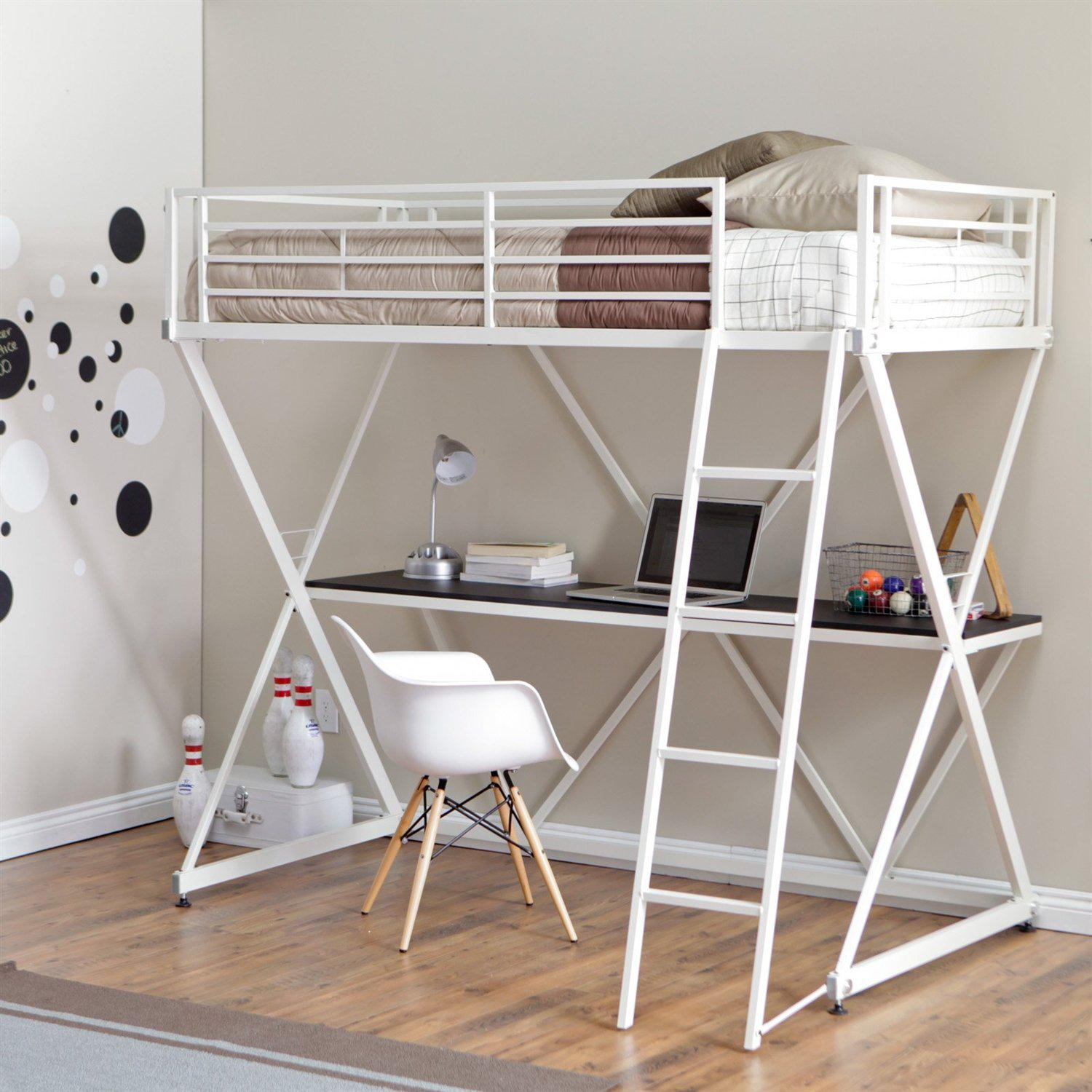 Saturn Bunk Bed Modern Twin Size Bunk Bed Loft With Desk In White Metal Finish