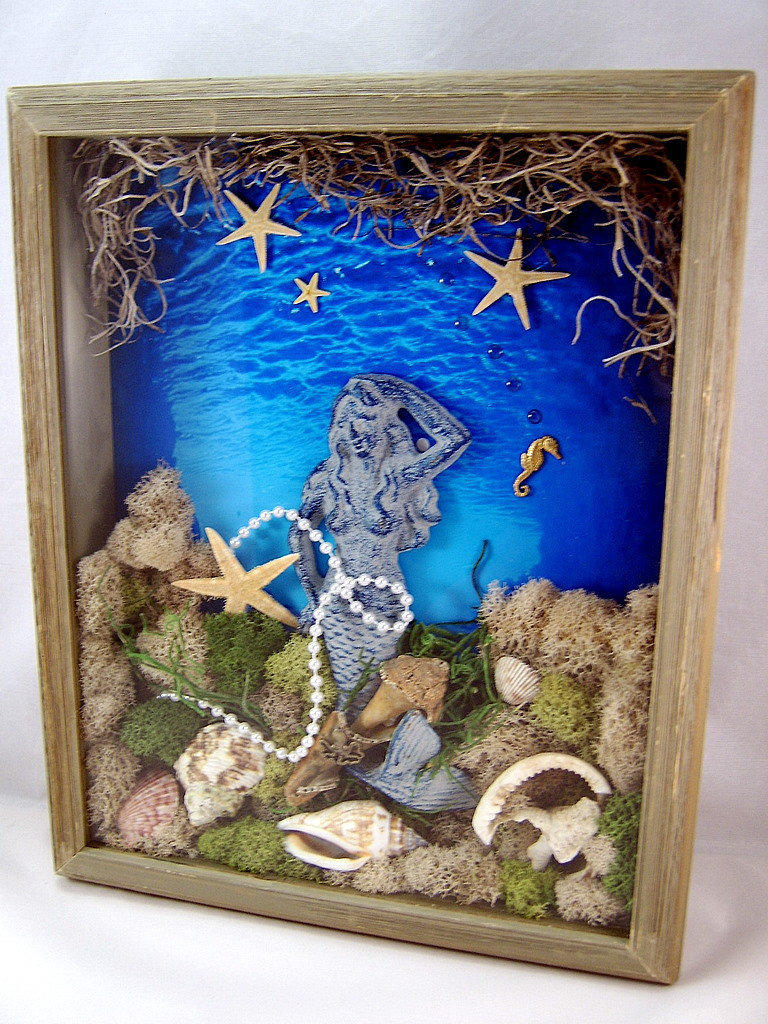 3d Mixed Media Art Collage Mermaid Shadow From