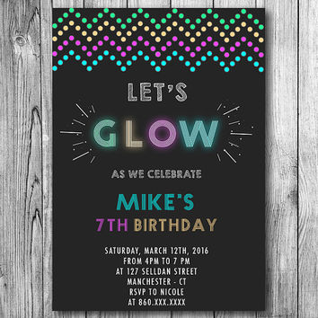 Shop Glow Party Invitations on Wanelo