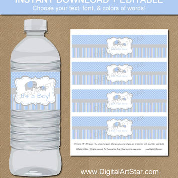 Shop Elephants Baby Blue Grey Shower on Wanelo - Free Baby Shower Label Templates